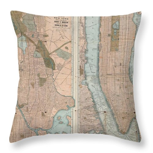 New York City Map Throw Pillow featuring the drawing Vintage Map Of New York City by CartographyAssociates