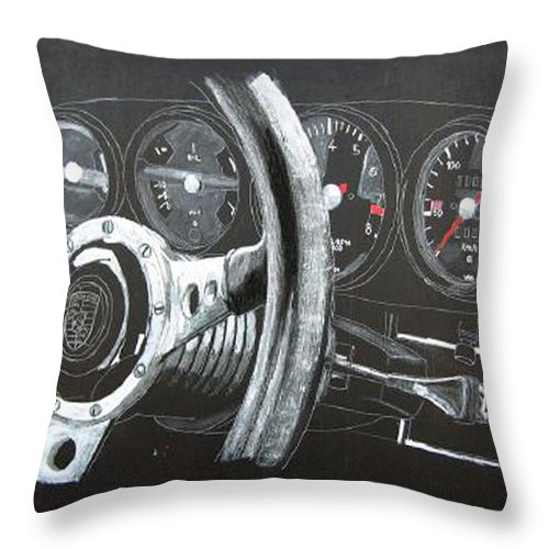 Car Throw Pillow featuring the painting 911 Porsche Dash by Richard Le Page
