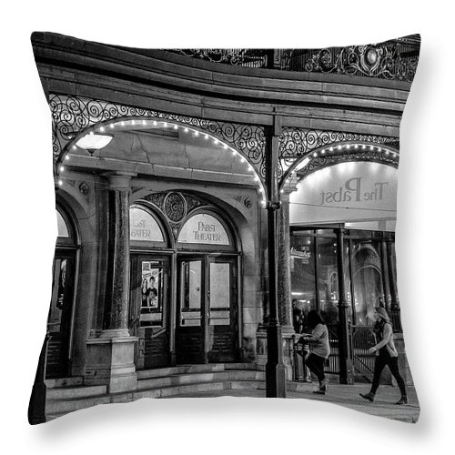 Milwaukee Downtown Throw Pillow featuring the photograph 9.21.2015 Busy Night At The Pabst by Kristine Hinrichs