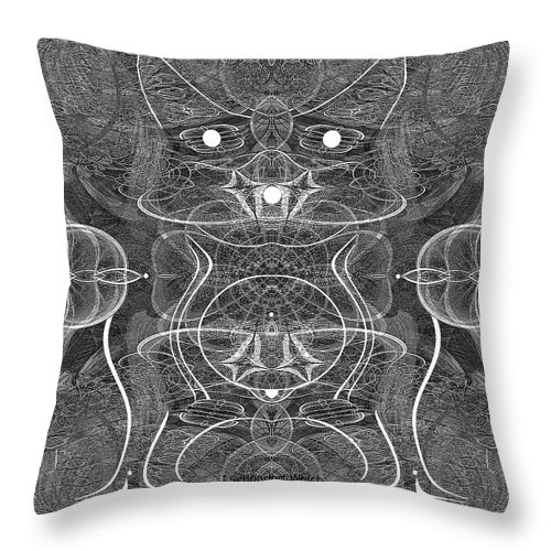 991 Feline Creature Throw Pillow featuring the digital art 991 Feline Creature by Irmgard Schoendorf Welch