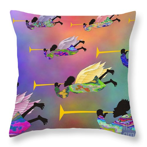 Angels Throw Pillow featuring the digital art A Band Of Angels by Walter Oliver Neal