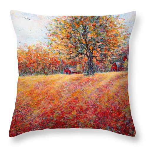 Autumn Landscape Throw Pillow featuring the painting A Beautiful Autumn Day by Natalie Holland