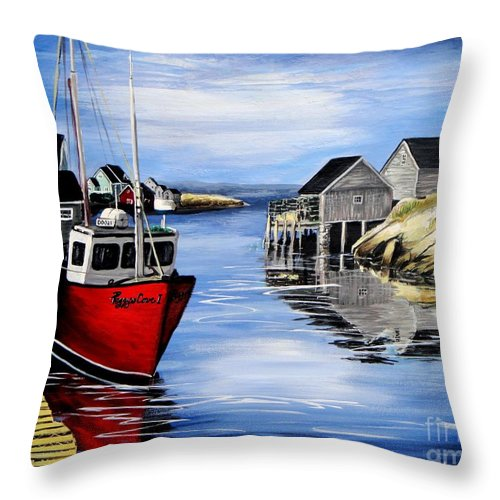 Peggys Cove Throw Pillow featuring the painting A Beautiful Day At Peggy's Cove by Patricia L Davidson