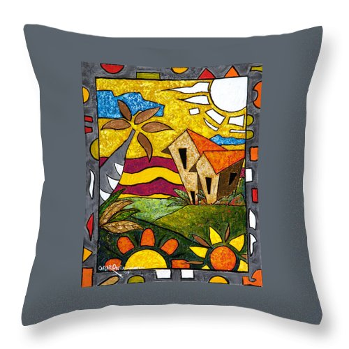 Puerto Rico Throw Pillow featuring the painting A Beautiful Day by Oscar Ortiz