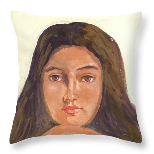 A Young Indian Girl Throw Pillow featuring the painting A Beautiful Girl by Asha Sudhaker Shenoy