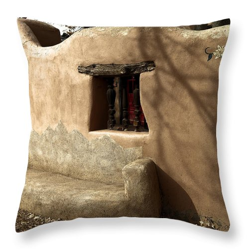 New Mexico Throw Pillow featuring the photograph A Bench In Old Town by Jeff Swan