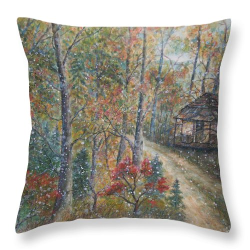 Country Road; Old House; Trees Throw Pillow featuring the painting A Bend In The Road by Ben Kiger