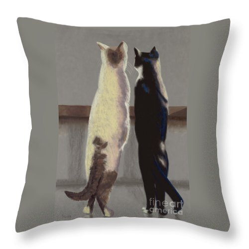 Cat Throw Pillow featuring the painting A Bird by Linda Hiller