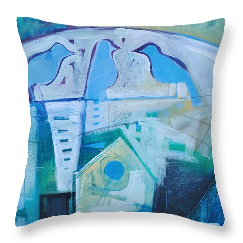 Birds Throw Pillow featuring the painting A Birds Life by Tim Nyberg