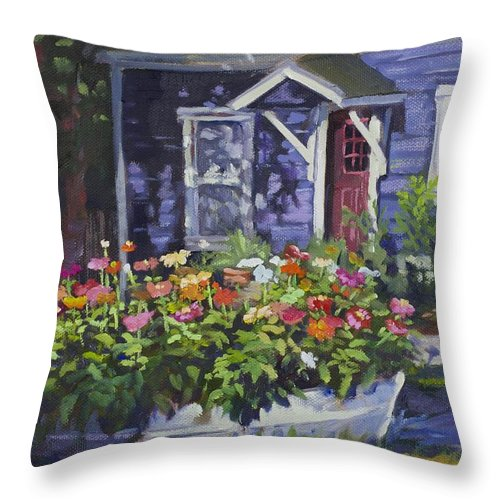 House Throw Pillow featuring the painting A Boat Load Of Zinnias by Leona Fox