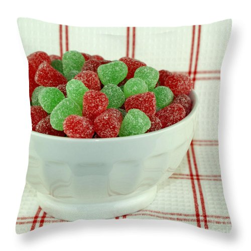 Gumdrops Throw Pillow featuring the photograph A Bowlful Of Sugar by Valerie Fuqua