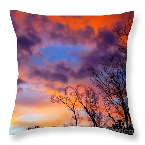 Sunset Throw Pillow featuring the photograph A Break In The Cloud Cover by Sue Melvin