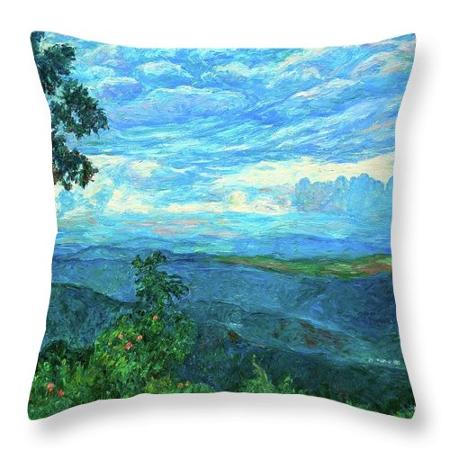 Mountains Throw Pillow featuring the painting A Break In The Clouds by Kendall Kessler