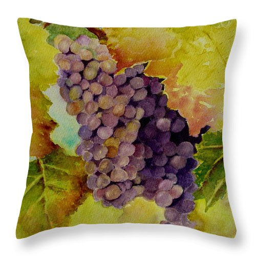 Grapes Throw Pillow featuring the painting A Bunch Of Grapes by Karen Fleschler