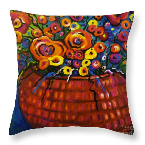 Floral Throw Pillow featuring the painting A Bunch Of Poppies by Sidra Myers
