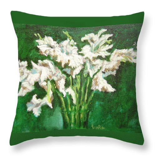 Bunch Throw Pillow featuring the painting A bunch of White Gladioli by Usha Shantharam