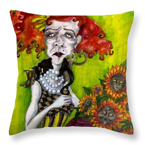 Colourful Throw Pillow featuring the painting A Busy Heart by Brittney Norton