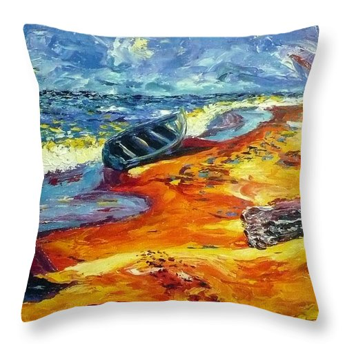Landscape Throw Pillow featuring the painting A Canoe At The Beach by Ericka Herazo