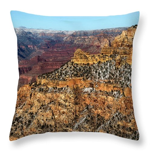Grand Canyon Throw Pillow featuring the photograph A Canyon Winter by Susan Warren