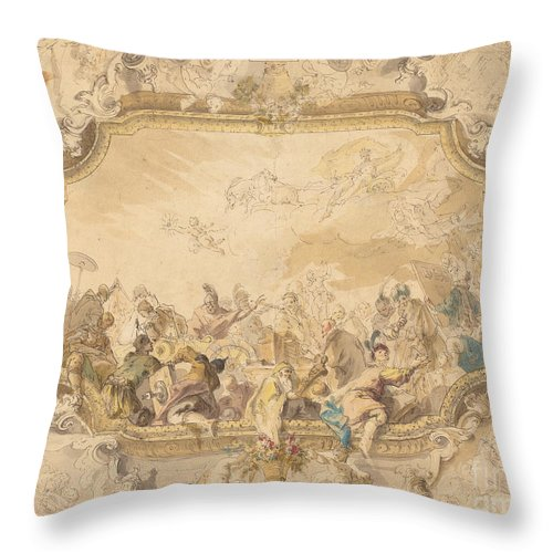 Throw Pillow featuring the drawing A Ceiling With Apollo Presiding Over Military And Historical Learning by Anton Kern