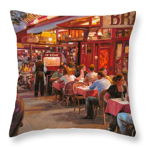 Street Scene Throw Pillow featuring the painting A Cena In Estate by Guido Borelli