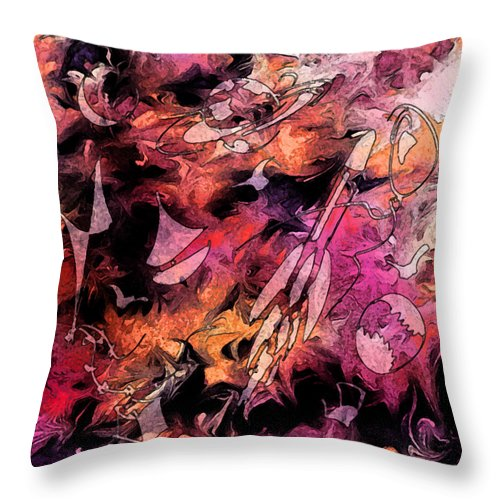Abstract Throw Pillow featuring the digital art A Childhood by Rachel Christine Nowicki