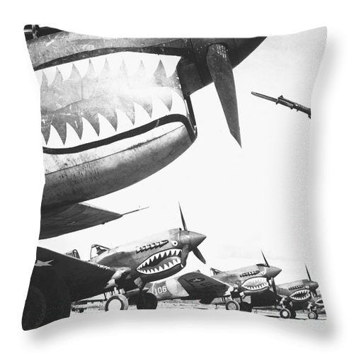 Horizontal Throw Pillow featuring the photograph A Chinese Soldier Guards A Line by Stocktrek Images