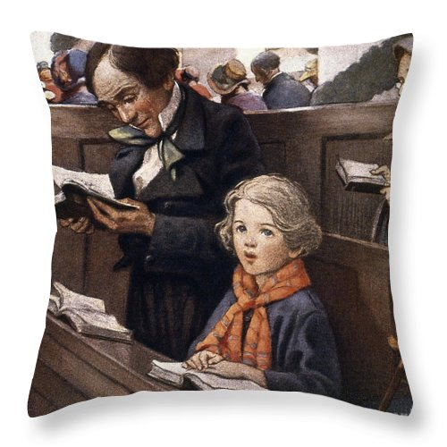 Aod Throw Pillow featuring the painting A Christmas Carol by Granger