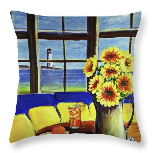 Beaches Throw Pillow featuring the painting A Coastal Window Lighthouse View by Patricia L Davidson