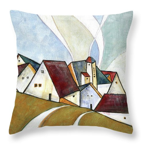 Original Art Throw Pillow featuring the painting  A Cold Day by Aniko Hencz