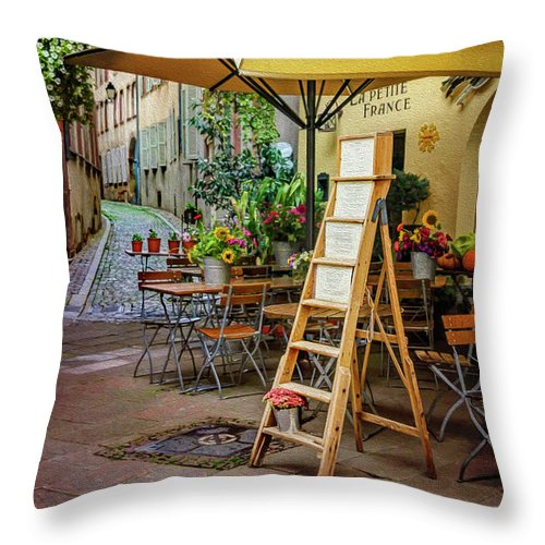 Strasbourg Throw Pillow featuring the digital art A Colorful Corner Of Strasbourg France by Carol Japp