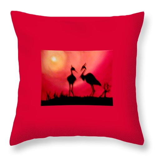 Swans Throw Pillow featuring the painting A Conversation by Glory Fraulein Wolfe