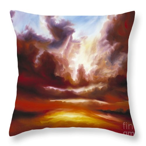 Tempest Throw Pillow featuring the painting A Cosmic Storm - Genesis V by James Christopher Hill