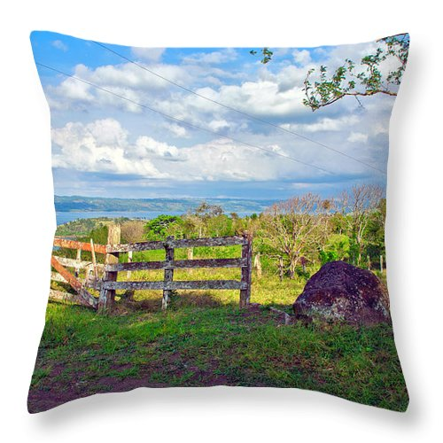 Landscape Throw Pillow featuring the photograph A Costa Rica View by Madeline Ellis