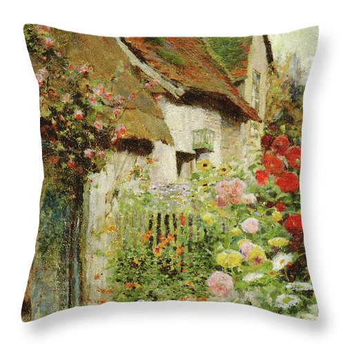 Ducks Throw Pillow featuring the painting A Cottage Door by David Woodlock