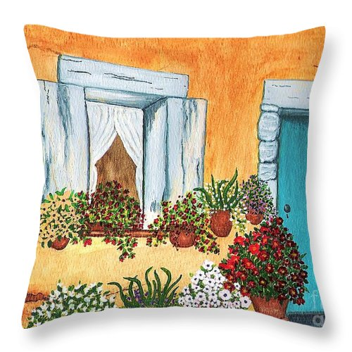 Watercolor Painting Throw Pillow featuring the painting A Cottage In The Village by Patricia Griffin Brett
