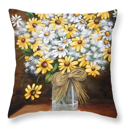 Still Lift Throw Pillow featuring the painting A Country Bouquet by Ruth Bares