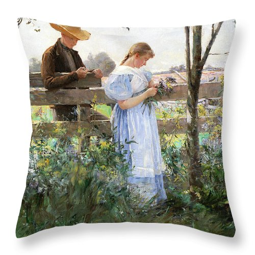 A Country Romance (oil On Canvas) By David B. Walkley (1849-1934) Throw Pillow featuring the painting A Country Romance by David B Walkley