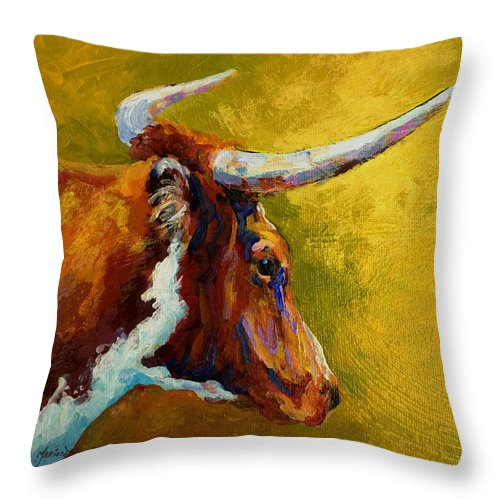 Western Throw Pillow featuring the painting A Couple Of Pointers - Longhorn Steer by Marion Rose