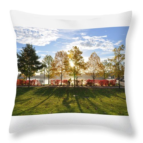 Fall Throw Pillow featuring the photograph A Crisp Fall Morning by Caroline Reyes-Loughrey