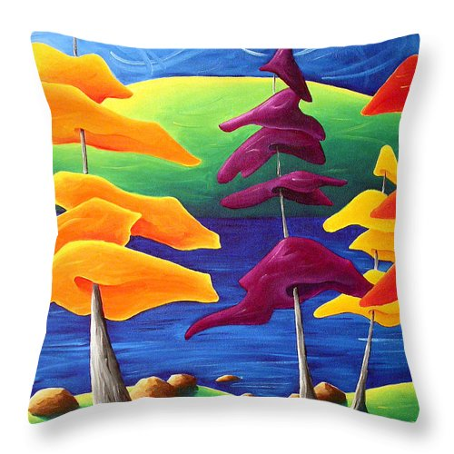 Landscape Throw Pillow featuring the painting A Crowd Gathers by Richard Hoedl