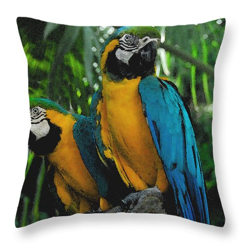 Tropical Throw Pillow featuring the painting A Curious Pair by David Lee Thompson