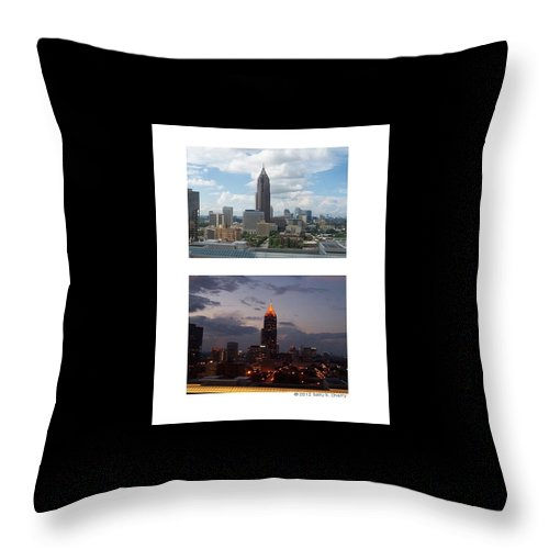 Atlanta Throw Pillow featuring the photograph A Day And Night In Atlanta by Sally Cherry