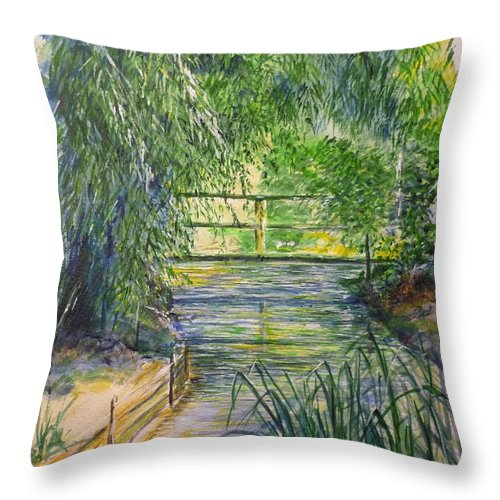 Giverny Throw Pillow featuring the painting A Day At Giverny by Lizzy Forrester