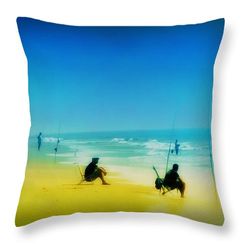 Beach Throw Pillow featuring the photograph A Day At The Beach by Bill Cannon