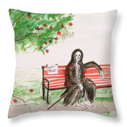 Darkestartist Day Death Holiday Humor Ink Off Paint Park Watercolor Watercolour Throw Pillow featuring the painting A Day At The Park by Darkest Artist
