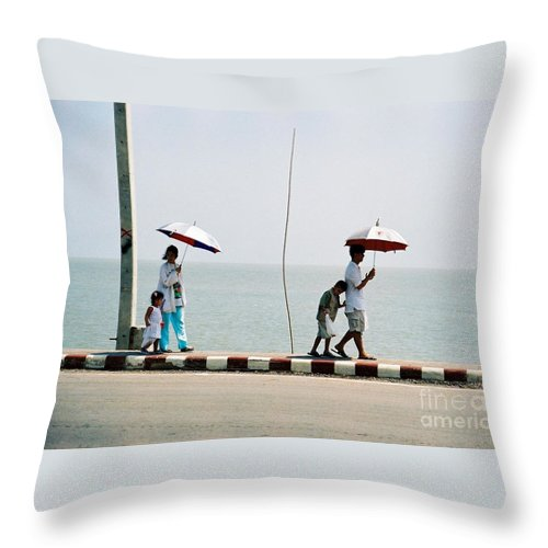 Landscape Throw Pillow featuring the photograph A Day By The Sea by Mary Rogers