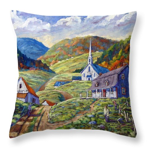 Landscape Throw Pillow featuring the painting A Day In Our Valley by Richard T Pranke
