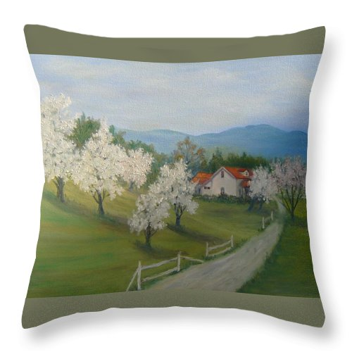 Landscape; Spring; Mountains; Country Road; House Throw Pillow featuring the painting A Day In The Country by Ben Kiger