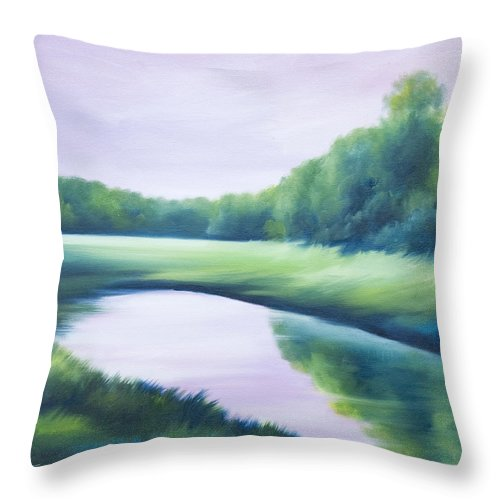 Nature; Lake; Sunset; Sunrise; Serene; Forest; Trees; Water; Ripples; Clearing; Lagoon; James Christopher Hill; Jameshillgallery.com; Foliage; Sky; Realism; Oils; Green; Tree; Blue; Pink; Pond; Lake Throw Pillow featuring the painting A Day In The Life 1 by James Christopher Hill